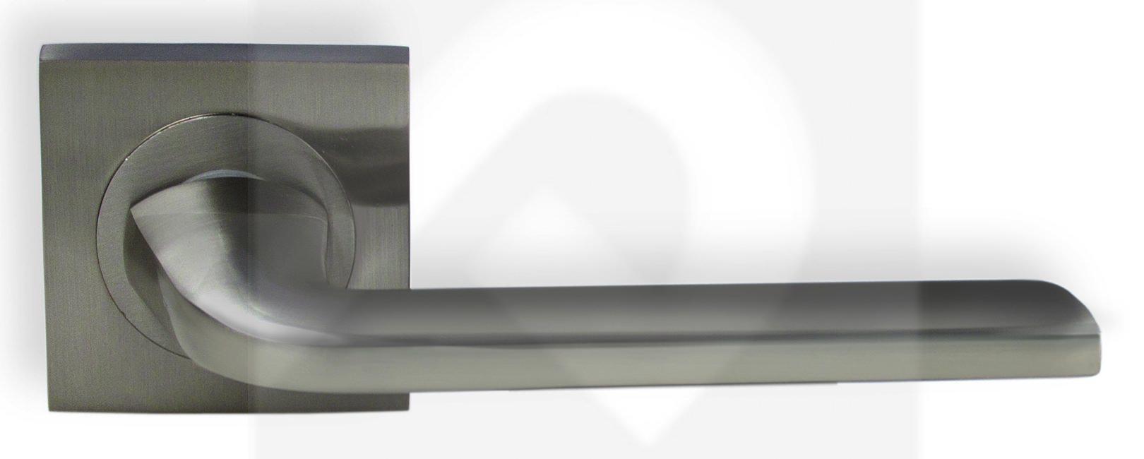 Juego de manillas cuadrada aluminio niquel mate 216 manistil - Manillas puertas aluminio ...
