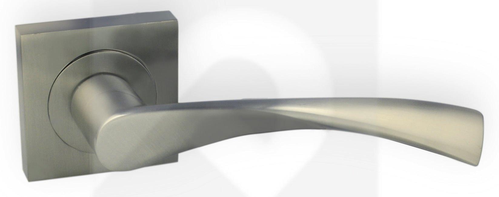 Juego de manillas cuadrada aluminio niquel mate 016 manistil - Manillas puertas aluminio ...
