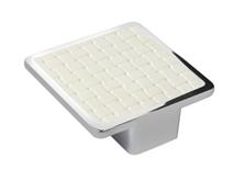 Pomo Contemporaneo Cromo Piel Sintetica Blanco 10288